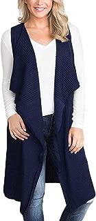 Women Sleeveless Cardigan Open Front Knitted Long Sweater Vest