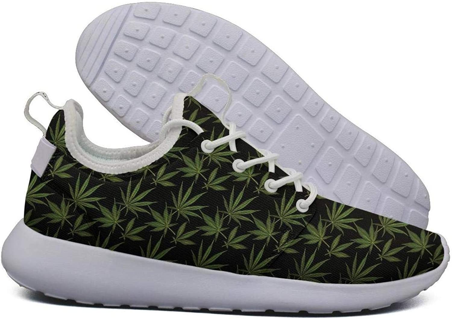 Hoohle Sports Womens Cannabis Leaf Flex Mesh Roshe 2 Lightweight Fashion Road Running shoes