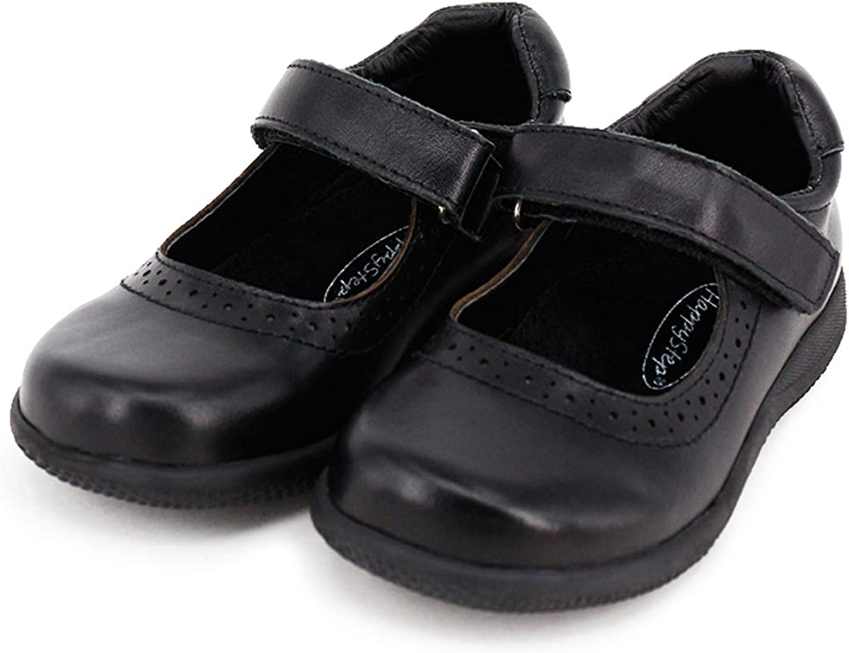Happystep Genuine Leather Toddler Little Girl Mary Jane School Uniform Black Dress Shoes