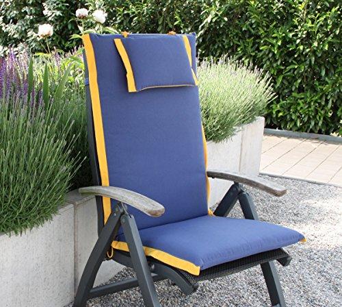 VTB Hambiente Design Hochlehner-Auflage Toscana mit Kopfkissen Hülle mit Reißverschluss Abnehmbar, Waschbar Farbe Stahlblau