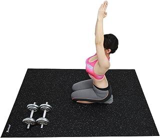RevTime Rubber Gym Equipment Mat 6 x 4 Feet (72 x 48 x 1/4) 6 mm Thick Heavy Duty Durable Rubber Mat for GYM Floor Mats, Fitness Mat, Treadmill Mat, Pickup Mat, Truck Mat, Black