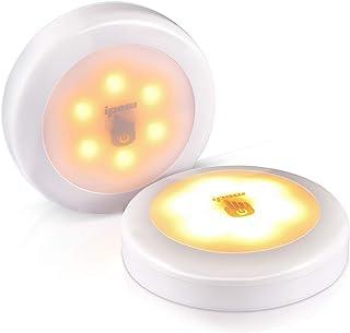 ipow 2 Pcs Lampe Tactile sans Fil,Dimmable Veilleuse Autocollante,Lampe LED à Piles,Applique Mural à Lumière Chaude pour É...