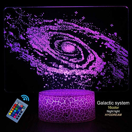 Zenghh Bright Galaxy System 3D Optical Illusion Lamp LED Outer Space Galactic Table Desk Lamp Educational Toys for Kid Boy Girl Birthday Wedding Anniversary Adult Teenagers Gifts