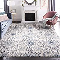 Safavieh Madison Collection Bohemian Chic Glam Paisley Area Rug, 5 Inch Square (Cream/Light Grey)
