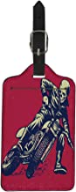 Semtomn Luggage Tag Racer of Skull Riding Vintage Motorcycle Is Easy Suitcase Baggage Label Travel Tag Labels