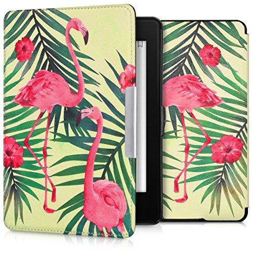 kwmobile Hülle kompatibel mit Amazon Kindle Paperwhite - Kunstleder eReader Schutzhülle Cover Case (für Modelle bis 2017) - Flamingo Palmen Rosa Grün Hellgrün