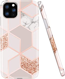 JAHOLAN iPhone 11 Pro Max Case Bling Glitter Sparkle Marble Design Clear Bumper TPU Soft..