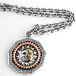 Collana con Pendente in Argento Sterling 925 Moon Sun God, alla Moda Run The Wheel Monete Triangle Eye Gioielli Hip-Hop di...
