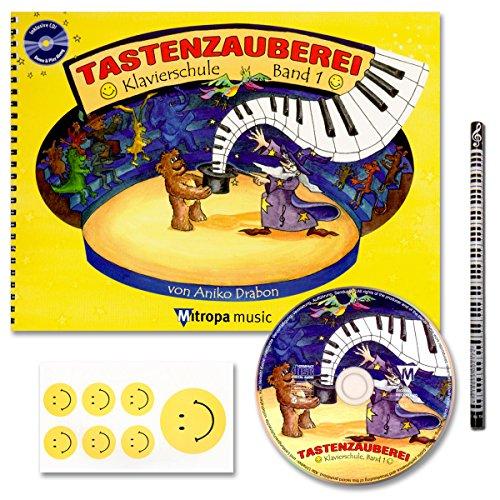 Mitropa musik TASTENZAUBEREI - mit CD + Piano-Bleistift + 7 lustige Smiley-Sticker - Klavierschule Band 1 von Aniko Drabon - der Zauberhafter Einstieg ins Klavierspiel! [Spiralbuchbindung/Musiknoten]