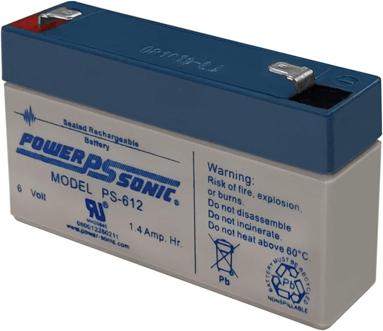 Power Sonic PS-612 6V 1.4AH Translated SLA for GE Max 50% OFF Battery Replacement Secur