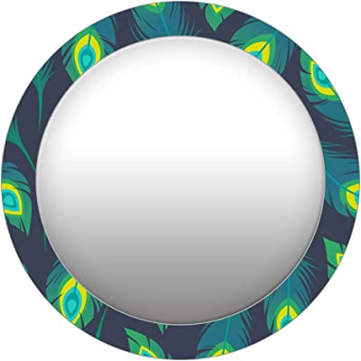 999Store Printed Green Peacock Feathers Round Mirror (MDF_24X24 Inch_Multi)