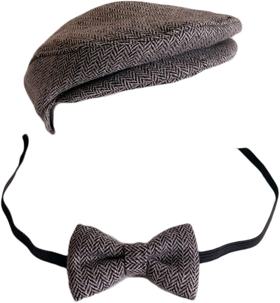 New Kids Lovely Baby Tweed Boy Flat Cap Hat And Bow Tie Set Photo Props Hat Cap
