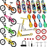 31 Pieces Mini Finger Toys Set Includes Finger Skateboards, Finger Bikes, Mini Scooters and Matched Wheels and Tools Accessories Educational Toys for Party Favors