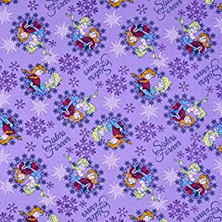 Springs Creative Products Purple Disney Frozen Flannel Sisters Ice Skating Snowflake Frames Fabric by The Yard