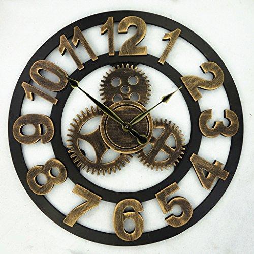 Yxx max *wanduhren für Retro Uhr European Retro Vintage Handarbeit 3D Dekoration Getriebe Holz Retro Wanduhr Roman Numeric Noiseless Gear Wanduhr/Küche Wall Clock (Farbe : Gold, größe : 20 inches-A)