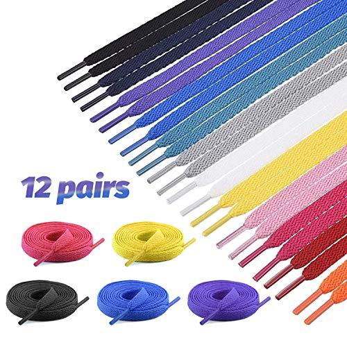 Lvcky Cordones Planos Coloridos 12 Pares de 12 Colores, Zapatillas Intercambiables de Deporte, Zapatos de Escalada Zapatos Converse Botas Patines Cordones de Zapatos (Color Aleatorio)