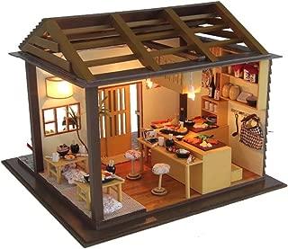 Flever Dollhouse Miniature DIY House Kit Creative Room with Furniture for Romantic Valentine's Gift(Sakura Sushi House)