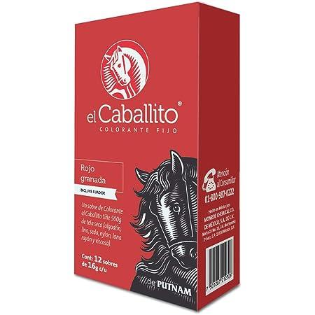 el Caballito Cajilla 12 sobres Colorante para Ropa Rojo granada 16g c/u