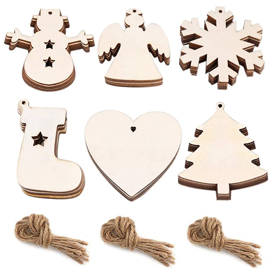 Quacoww 6 Styles Christmas Hanging Ornaments Unfinished Wooden Decorations for Christmas Tree Wood Crafts, Set of 30