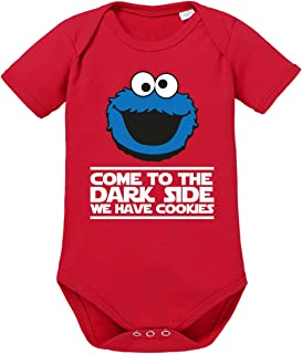 clothinx Come to The Dark Side - We Have Cookies - Lustiges Keks-Monster Motiv Baby-Body Bio
