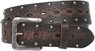 """1 1/2"""" Snap on Perforated Studded Vintage Embossed Solid Leather Jean Belt"""