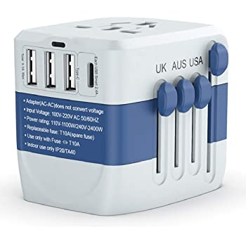 Travel Adapter 2400W,High Power Universal Travel Adapter, International Power Adapter, All in one Travel Plug Adapter for Dryer and High Power Appliances,for EU UK US AUS 200+ Countries
