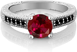 1.72 Ct Round Red Created Ruby Black Diamond 925 Sterling Silver Engagement Ring