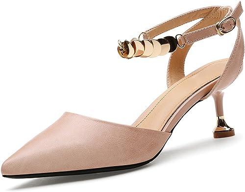 GTVERNH-Chaussures pour Femmes A 6 Cm des Talons Hauts Baotou Sandales Summer Talon Et Talon Boucle Les Chaussures De Femmes.