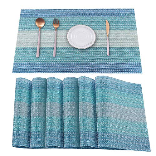 HeloHo Blue Placemats Set of 6,Heat-Resistant Kitchen Table Mats Washable Placemats Non-Slip Crossweave Woven Vinyl Placemat for Dining Table