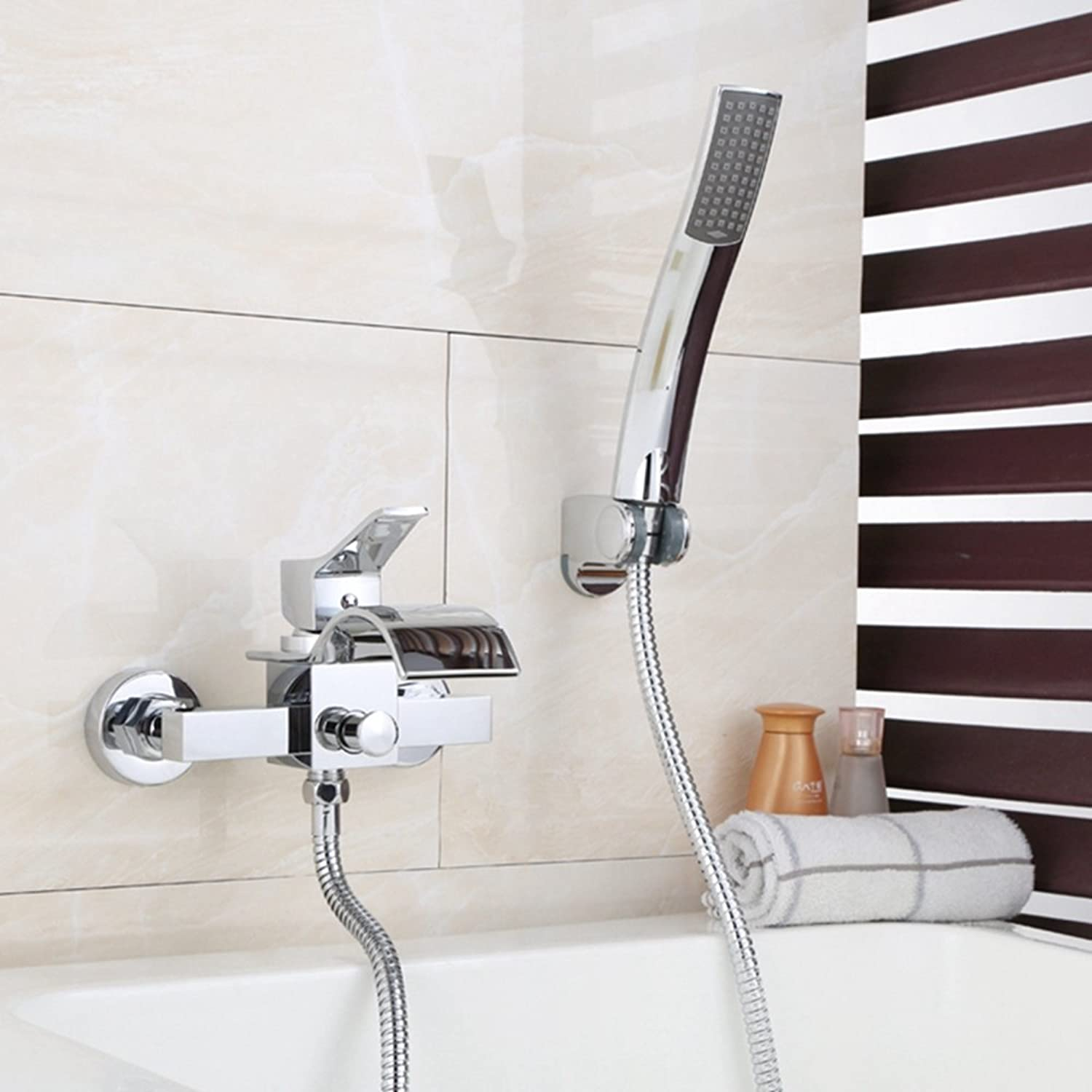AA100 Bathroom Bathtub Mixing Valve Faucet Handheld Shower Wall Concealed Double Union Waterfall Bathtub Faucet