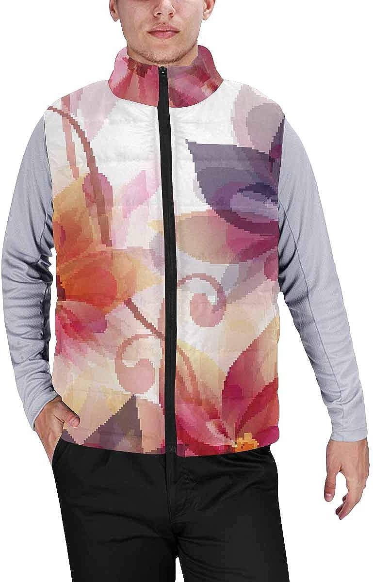 InterestPrint Men's Full-Zip Soft Warm Winter Outwear Vest Pine Trees in Heavy Snow