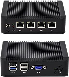 Qotom Barebone Mini PC Q190G4U-S01 with Bay Trail j1900 Processor, Quad core 2.0 GHz, 4 Intel Gigabit NIC, Fanless Mini PC X86
