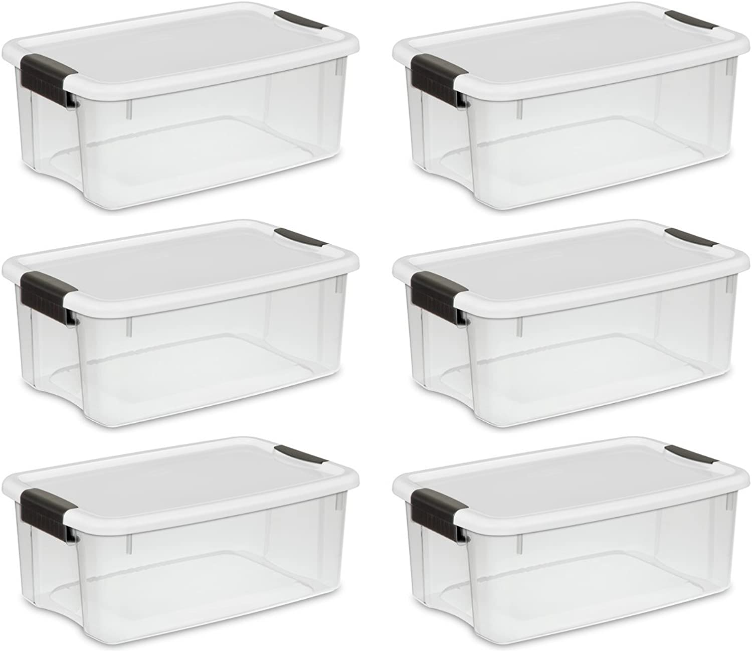 Sterilite 19849806 18 Quart 17 Liter Ultra Latch Box, Clear with a White Lid and Black Latches, 6-Pack