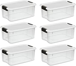 STERILITE 19849806 18 Quart/17 Liter Ultra Latch Box, Clear with a White Lid and Black Latches