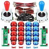 EG STARTS 2 Player LED Arcade DIY Parts 2X USB Encoder + 2X Ellipse Oval Style Joystick + 20x LED Arcade Buttons for PC MAME Raspberry Pi Windows System