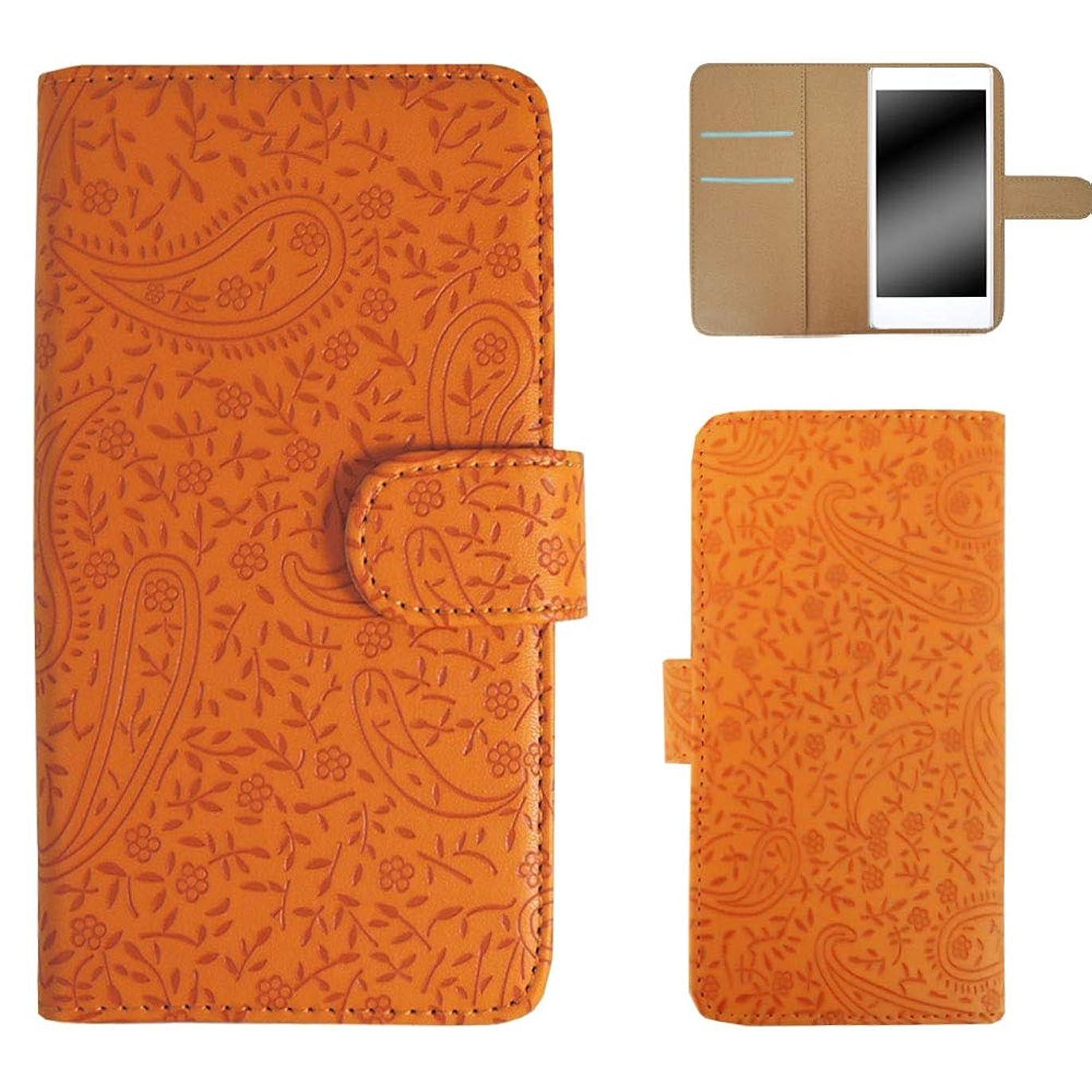 抑圧者理解ストリップホワイトナッツ Xperia acro HD SO-03D スマホケース 手帳 ペイズリー柄 オレンジ ケース エクスペリア アクロ エイチディー 手帳型 カバー スマホカバー WN-OD225263_M