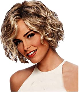 giokfine Short Wavy Wig, Women Gold Brazilian Short Wavy Curly Parting High Temperature Fiber Wig Hair