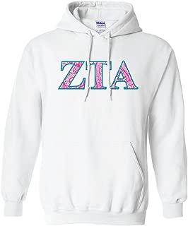 VictoryStore Zeta Tau Alpha Hooded Sweatshirt Paisley Greek Letter Design (medium, White)