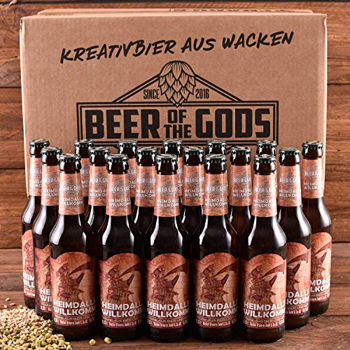 WACKEN BRAUEREI Metbier - Mix Craft Beer Box 20 x 0,33 l Flasche | HEIMDALLS WILLKOMM | Viking Craftbeer Set Gift for Men | Wikinger Kraft Bier Geschenk für Männer | Party Festival Heavy Metal