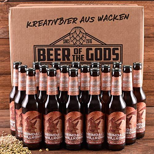 WACKEN BRAUEREI Metbier - Mix Craft Beer Box 18 x 0,33 l Flasche | HEIMDALLS WILLKOMM | Viking Craftbeer Set Gift for Men | Wikinger Kraft Bier Geschenk für Männer | Party Festival Heavy Metal