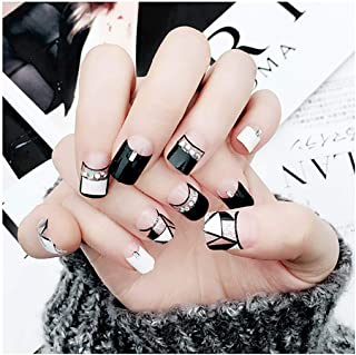 Fstrend False Nails Black White Geometric Lines Silver Sequins Bead Fake Nails Full Cover Fashion Party Acrylic Nails for Women and Girls
