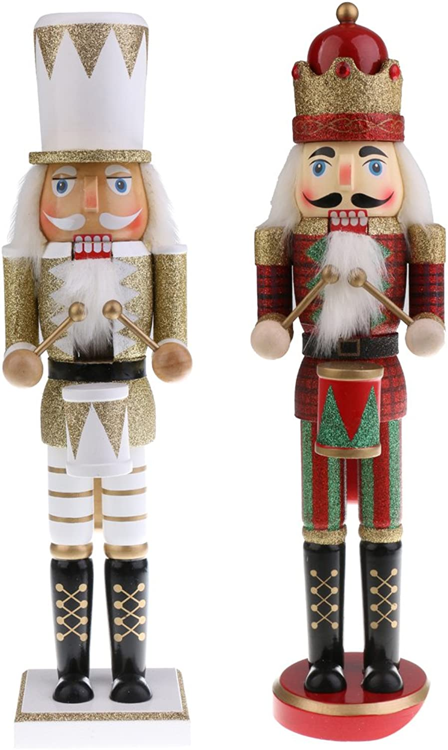 Baosity 2X Vintage 38cm Wood Glitter Drummer Nutcracker Home Decor Xmas Toy Gift New