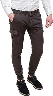 Evoga Pantaloni Uomo Cargo Slim Fit Casual con tasconi Laterali