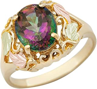 Scrollwork Mystic Fire Topaz Ring, 10k Yellow Gold, 12k Green and Rose Gold Black Hills Gold Motif