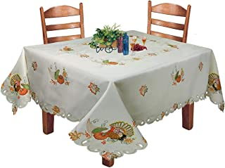 Creative Linens Fall Harvest Thanksgiving Tablecloth 70x120 Rectangular with 12 Napkins, Embroidered Turkey Pumpkin Maple Leaf Table Linen for Holiday Decoration, Ivory