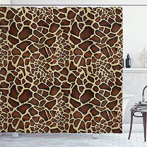 wobuzhidaoshamingzi Sambia Duschvorhang, Giraffe Hautmuster Wildlife Symbolic Zoo Hippie Style Bild Yellowwood