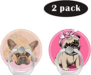 2 Pack/Cell Phone Ring Holder 360 Degree Rotation Finger Stand Works for All Smartphone and Tablets-French Bulldog Pug Dog