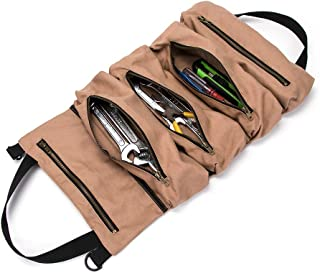 Super Tool Roll, Large Wrench Roll, Big Tool Roll Up Bag, Waxed Canvas Tool Organizer Bucket, Tool Roll Up Pouch, Handy Small Tools Tote Carrier,Tool Pouch Sling, Car Back Seat Organizer (Khaki)