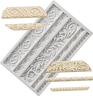 Neepanda DIY Baroque Scroll Relief Cake Border Silicone Molds Baroque Style Curlicues Scroll Lace Fondant Silicone Mold Eu...