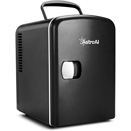 AstroAI Mini Fridge, 4 Liter/6 Can AC/DC Portable Thermoelectric Cooler and Warmer Refrigerators for Skincare, Beverage, Home, Office, Dorm and Car, ETL Listed (Black)